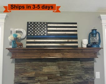 "36""x 19"" Thin Blue Line Rustic Flag"