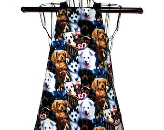 Childs Apron Kids Ages 3 to 8 Dogs Puppies Reversible Adjustable