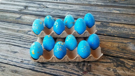 Decorative Easter Eggs, Artifical Easter Eggs, Gold Speckled Eggs, Blue Ombre Eggs