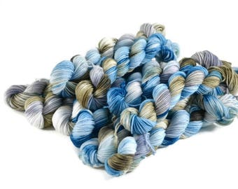 Mini Skeins, Hand Dyed Yarn, Sock Weight, Superwash Merino Wool Yarn, Knitting Yarn, Sock Yarn, Multi-colored, teal, green, gray - Cliffside