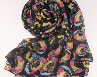 Floral Silk Scarf -  Floral Printed Silk Chiffon Scarf - Silk Scarf with Floral Print - AS2015-7
