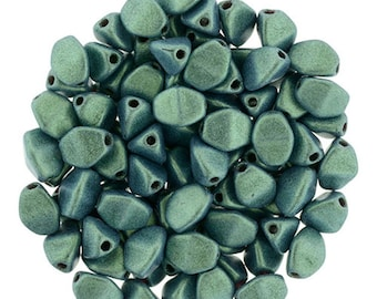 Pinch Beads - Czech Glass Beads - Tri Oval Beads - Pressed Glass Beads - Metallic Suede Light Green - 5x3mm - 50 Beads