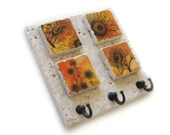Orange Sunflower Wall Key Holder, Key Rack, Decorative Tile, Country Decor, Key Hook, Jewelry Organizer