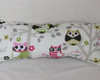 Beige Pink & Brown Owls Nursery Girls County Room Oblong Accent Pillow