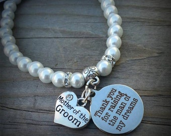 Mother-of-the-Groom Bracelet, faux pearl stretch