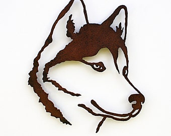 "Siberian Husky wall art - 19.5"" tall Husky - rusted steel dog wall art - indoor outdoor rust patina - satin sealer"