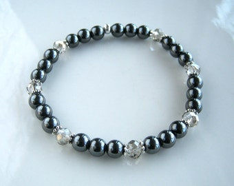 Crystal and Hematite Bracelet Non Magnetic Hematite Stretch Bracelet Gunmetal Bracelet Hematite Jewelry