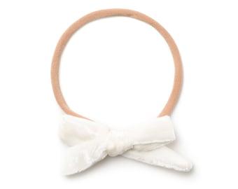 Nylon Baby Headband - Baby Girl Headband and Bows - Baby Hair Bands - Hand Tied Bows - Newborn Bow Headband - Small Baby Hair Bo- Buttermilk