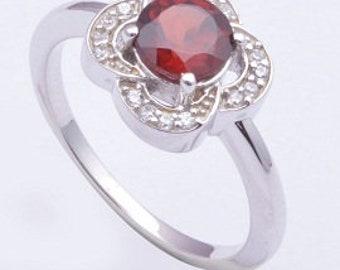 Handmade 925 sterling silver ring, Garnet ring