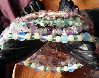 Crystal Stacking Bracelets Set Boho Stacking Bracelets Summer Bead Bracelet Beach Stacking Bracelets Pastel Crystal Glass Beaded Bracelets