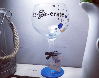 Blue large gin glass, Hand Painted reginerate script with bubbles - Gin and tonic gift, copa glass, cognac glass, balloon glass