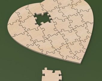 """18"""" x 18"""" Custom Heart Shaped 30 piece Rustic Guest Book Jigsaw Wedding Puzzle for rustic or cottage chic wedding."""