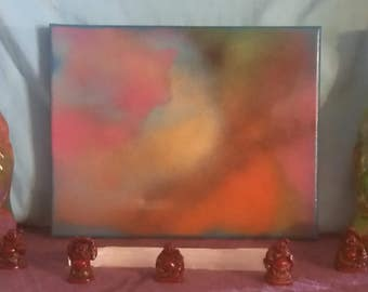 Cinnabrite #2 8X10 Abstract Spray Paint Crystal Healing Energy Art Spiritual Painting on Stretched Canvas 20.32 x 25.40 cm
