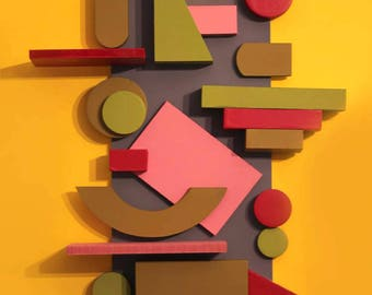 Abstract geometrical postmodern relief