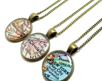 Personalized Vintage Map Necklace. You Select City, State, or Country Worldwide. One Necklace. Map Jewelry. Personalised Gifts For Her.