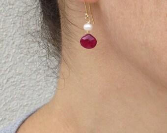 Natural ruby earrings, Ruby and pearl earrings, July birthstone
