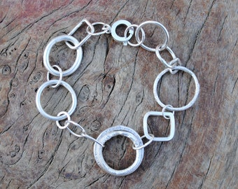 Circle and Square Links Bracelet with Double Link Section.
