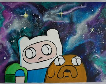 Adventure Time; finn and jake in space awe
