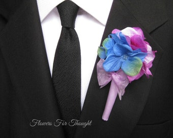Hydrangea Boutonniere, Wedding Party Flowers, Buttonhole Lapel, Decoration for Groom or Groomsmen, FFT design, Made to order