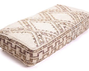 Moroccan Pouf, Floor Cushion, Beni Ourain Pouf Ottoman, Floor Pillow, Foot Stool, Refashioned from a Vintage Berber Rug. PVA018