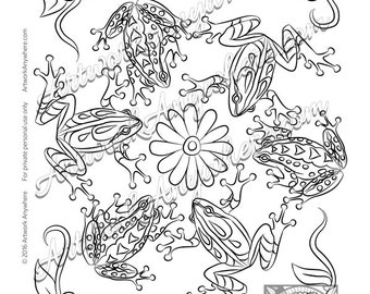 "Lizards, Turtles, and Frogs ""Cute Frogs with Flowers"" Adult coloring page printable download from Artwork Anywhere ~hand drawn frog mandala~"
