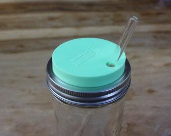 Mason Jar Tumbler Lid   Mason Jar Straw Hole Lids   Drinking Lids for Wide Mouth Mason Jars   Mint, Coral, Grey, or Blue