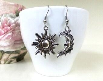 Silver Sun and Moon Earrings, Moon and Sun Earrings,  Celestial Earrings, Mismatched Earrings, Sun Jewelry, Pagan Earrings, Boho Earrings