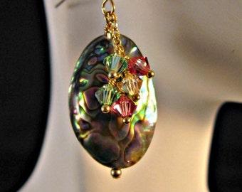 Beautiful Abalone Shell and Swarovski Crystal Earrings,crystal earrings,cluster earrings,gold earrings,drop earrings, shell earrings,dangle