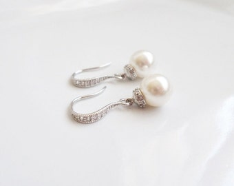 FREE US Shipping Swarovski Pearl Drop Bridal Earrings Bridal Jewelry Pearl And Cubic Zirconia Bridal Earrings Bridesmaid Gift