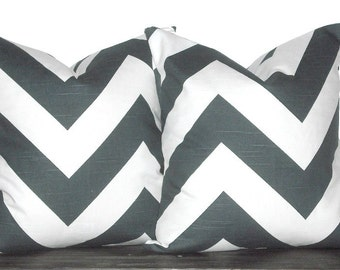 Charcoal Grey Pillow Covers - Charcoal and White Chevron Pillow Set - Coral Cushions - Dark Grey and White Large Chevron - TWO PILLOW COVERS