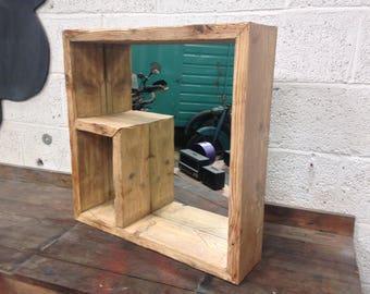 Rustic style, reclaimed wood mirror shelf