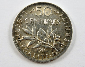 France 1916 Silver 50 Centimes Coin.