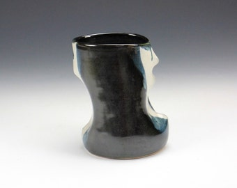 Abstract Black Blue and Whie Ceramic Vase, Unique Clay Vessel, Modern Home Decor, Kitchen Utensil Holder
