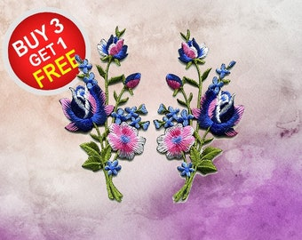 Flower Patch Flower Applique Blue Flower Patches Iron On Patch Embroidered Patches