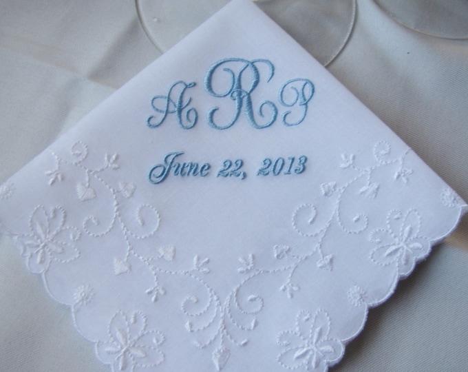 Monogrammed Something Blue Wedding Handkerchief, Bridal Handkerchiefs, Bridal Shower Gift, Embroidered Hankies, Custom monogram