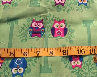 One Yard of Green Owl Fabric