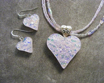 Pastel Pink Dichroic Heart