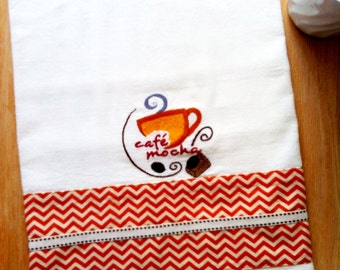 Dish Towel COFFEE / CAFE MOCHA chevron theme, Embroidered flour sack style