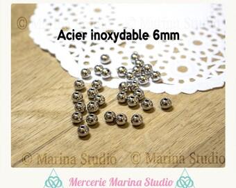 10 pearls 6mm steel stainless n94606