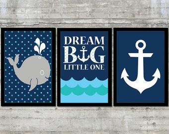 Nautical Decor - Nautical Nursery Art Kids Nautical Decor Children's Nautical set of 3 - 12x18 Prints