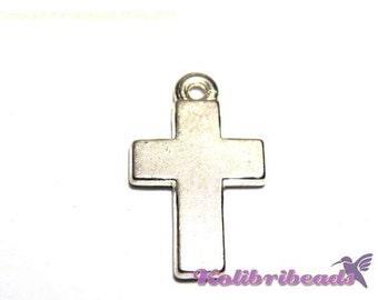 10x Plain Cross Charm 24 mm - Silver