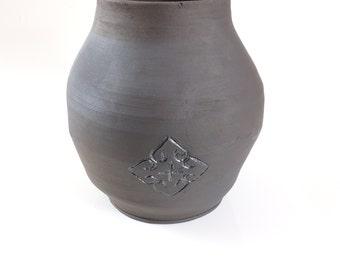 Large Black Ceramic Pot