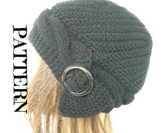 PATTERN PDF Digital Hat Knitting  Instant Download Knit hat pattern Women  Cable   Knit hat  Pattern  Winter  Cloche Hat Knitting  Pattern