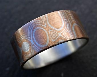 mokume gane rings mens, mens mokume ring, mokume gane mens ring, mokume wedding band, mokume gane wedding band mens wood grain ring