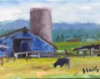 Original Oil Painting Petaluma Cow California Artwork Farmhouse Decor Shabby Cottage Original Barn Landscape Home Decor Honeystreasures USA