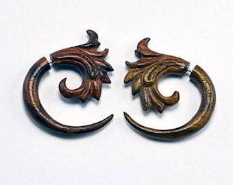 Fake Gauges – Tsunami Wave Fake Gauge Earrings – Sono wood - Faux Gauges