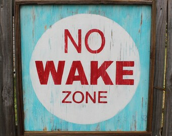 Large Nautical No Wake Zone Sign | Beach House Sign | Square No Wake Zone Sign | No Wake Zone Sign | Nautical Sign | Square Beach Sign