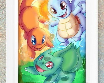 Pokemon Poster Print Picture Kanto Starters Squirtle Charmander Bulbasaur Video Game Geeky Nerd