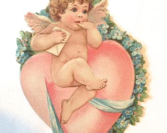adorable Victorian Cherub Valentine die cut card; vintgage angel with pink heart; new baby idea; old fashioned card  yesteryears; ephemera