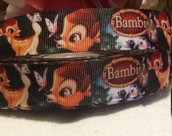 3 yards,  7/8' grosgrain ribbon Bambi design.